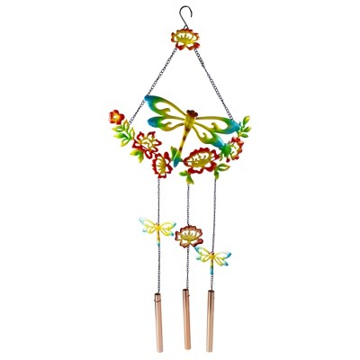 "Northlight 12.5"" Horizontal Charming Garden Collection Four Chime Metal Outdoor Wind Chime"