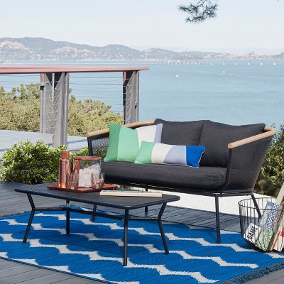 Bangor 2pc Metal Mesh & Faux Wood Patio Loveseat & Coffee Table Set - Project 62™