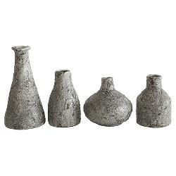 Terra Cotta Vases - Distressed Gray, Set of 4