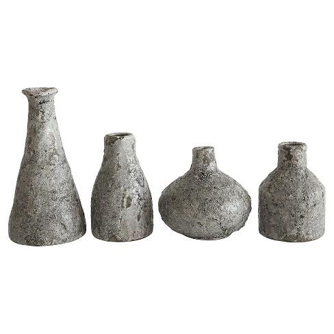 Terra Cotta Vases Distressed Gray Set Of 4 Target