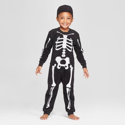 toddler halloween skeleton union suit cat jack black