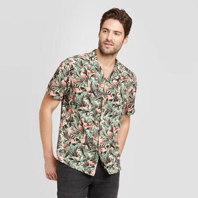Men's Floral Print Standard Fit Short Sleeve Button-Down Camp Shirt - Goodfellow & Co™ Green L