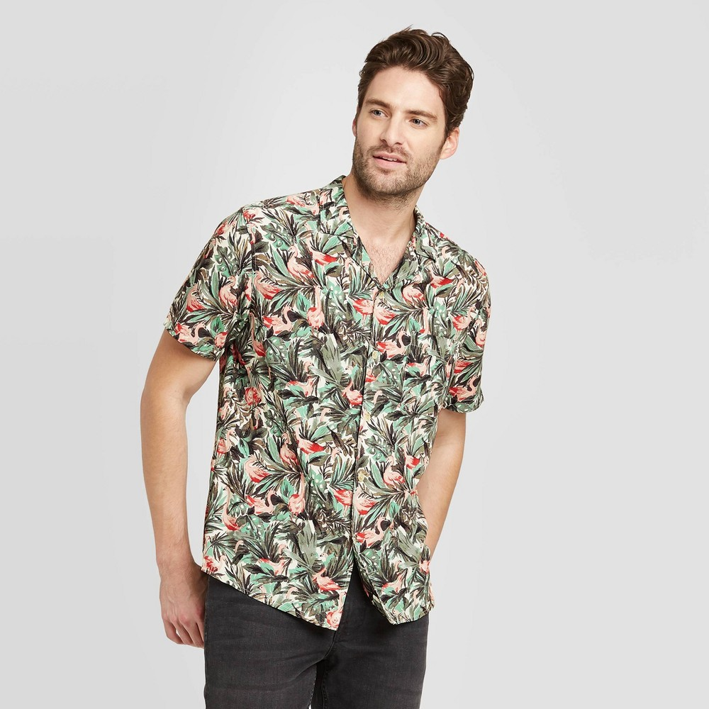 Men's Floral Print Standard Fit Short Sleeve Button-Down Camp Shirt - Goodfellow & Co Green L was $19.99 now $12.0 (40.0% off)