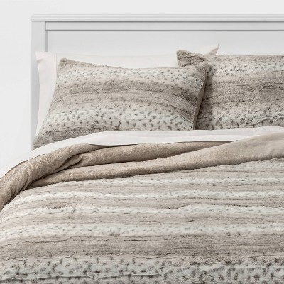 King Snow Leopard Faux Fur Comforter & Sham Set - Threshold™
