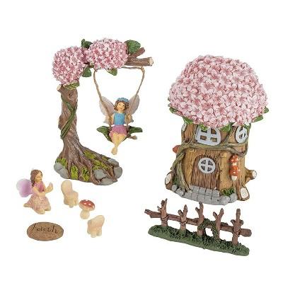 Juvale 8-Piece Miniature Tree House  Fairy Figurines, Indoor Outdoor Decorations