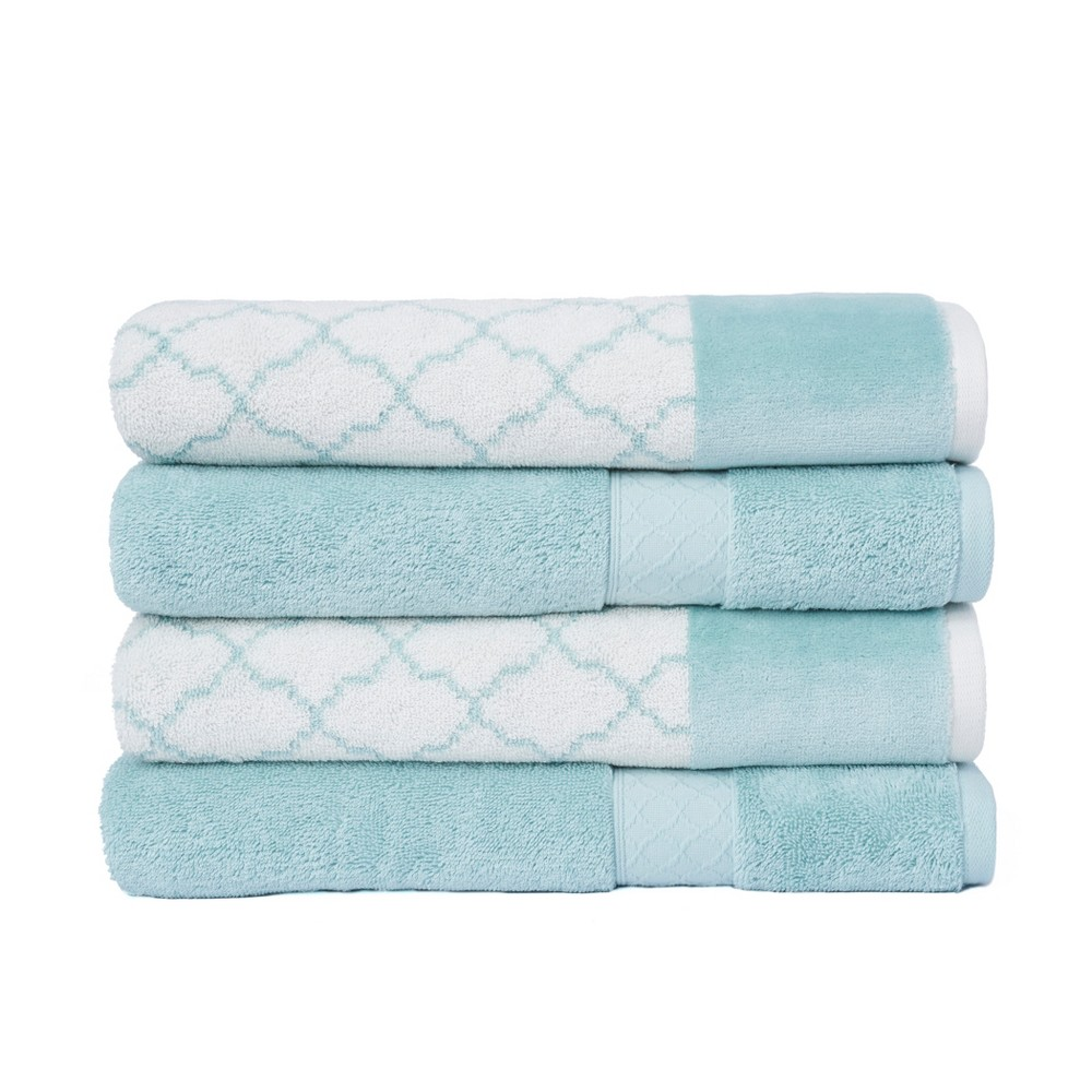4pc Lattice Solid/Jacquard Bath Towel Set White/Aqua (White/Blue) - Loft
