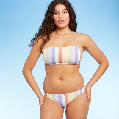 Juniors' Ribbed Bandeau Bikini Top - Xhilaration™ Multi Stripe