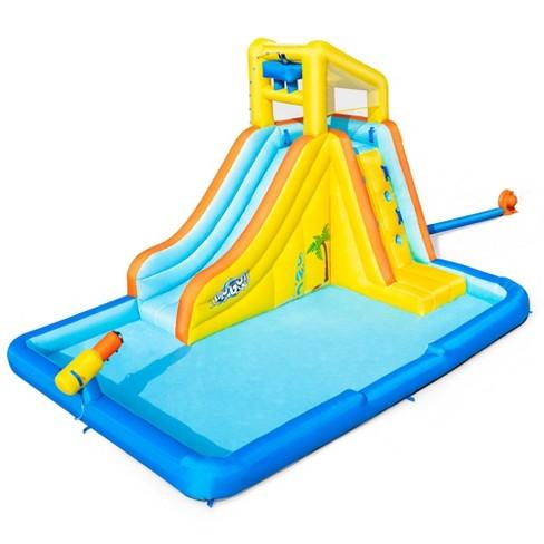 Bestway 53350E H2OGO! Beachfront Bonanza Kids Inflatable Backyard Mega Water Slide Splash Park Toy with Slide, Climbing Wall, Sprayer, and Kiddie Pool - image 1 of 4
