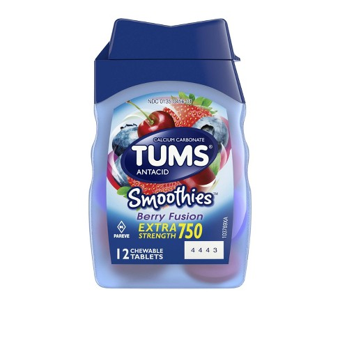 TUMS Extra Strength Antacid Smoothies Assorted Berries Chewable Tablet 12ct - image 1 of 4