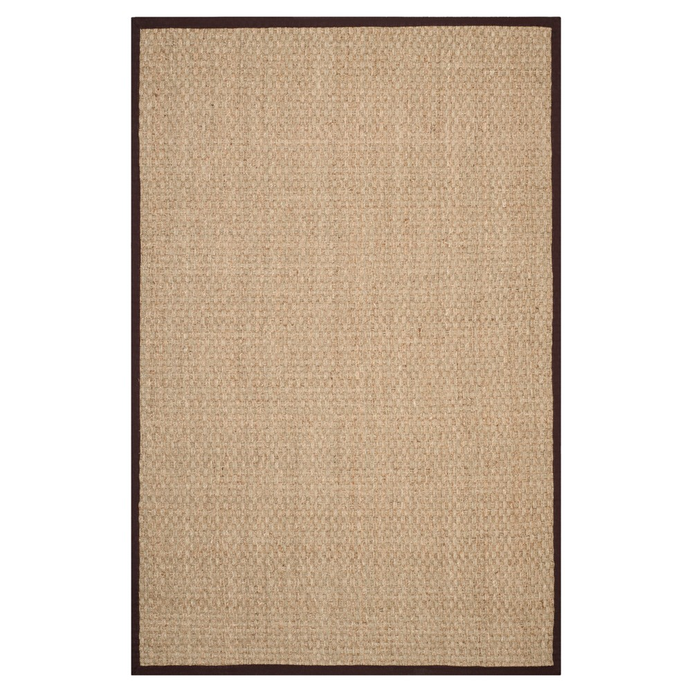 Natural/Dark Brown Classic Loomed Square Area Rug - (6'X6') - Safavieh
