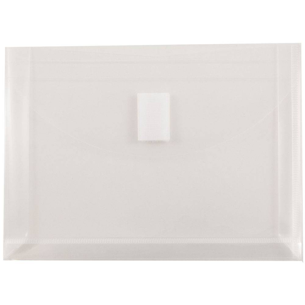 Jam Paper 5 1/2'' x 7 1/2'' 12pk Plastic Envelopes with Hook & Loop Closure, 1 Expansion, Index Booklet - Clear