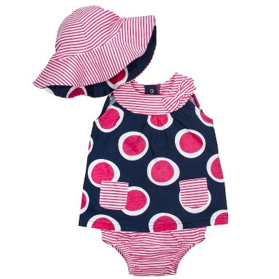 Gerber® Baby Girls' 3pc Circles Dress, Panty and Reversible Hat Set - Pink/Blue 0-3M
