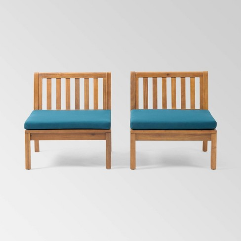 Caswell Set of 2 Acacia Wood Club Chairs - Teak/Dark Teal - Christopher Knight Home - image 1 of 4