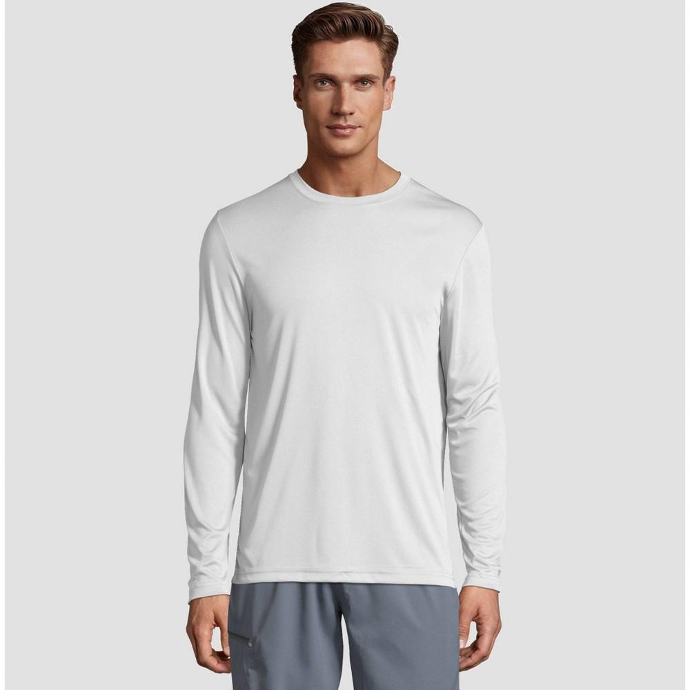 Hanes Men's Long Sleeve CoolDRI Performance T-Shirt -White L, White