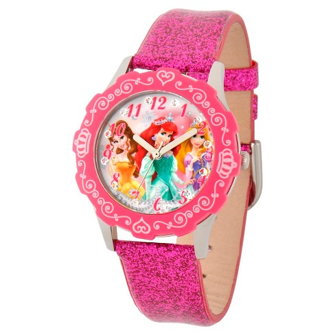 Disney® Girls' Princess Stainless Steel Glitz Case with Bezel Watch - Peach - image 1 of 2