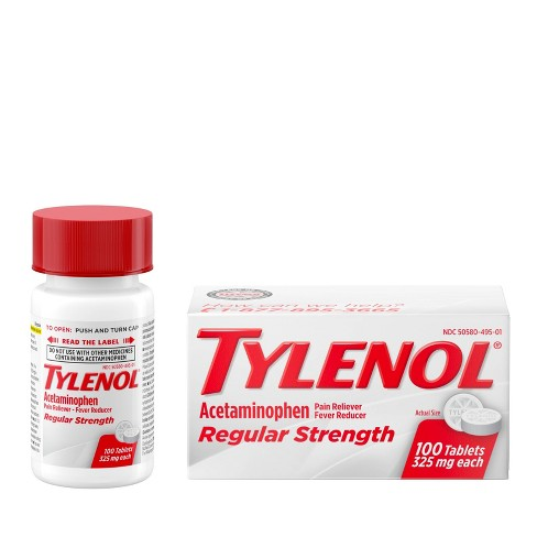 Tylenol Regular Strength Pain Reliever & Fever Reducer Tablets - Acetaminophen - 100ct - image 1 of 4