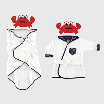 Hudson Baby Boys' Animal Face Hooded Towel & Bath Robe Set, Crab - White 0-9M