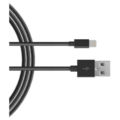10' iPhone Charging Cable 8 Pin - Braided - Black