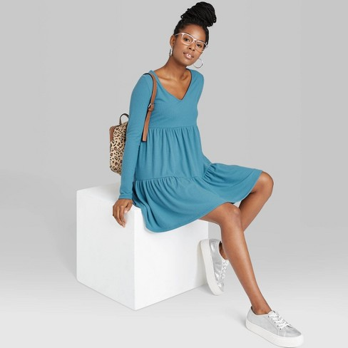 Women's Long Sleeve Brushed Rib-Knit Tiered Dress - Wild Fable™ - image 1 of 3