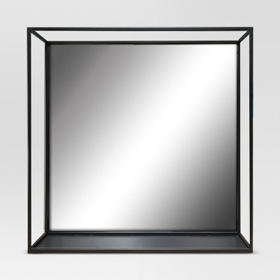 Square Metal Decorative Wall Mirror with Shelf Black - Project 62™