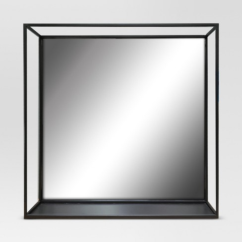 Square Metal Decorative Wall Mirror with Shelf Black - Project 62™ - image 1 of 4