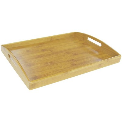 Home Basics Bamboo Serving Tray with Open Handles, Natural