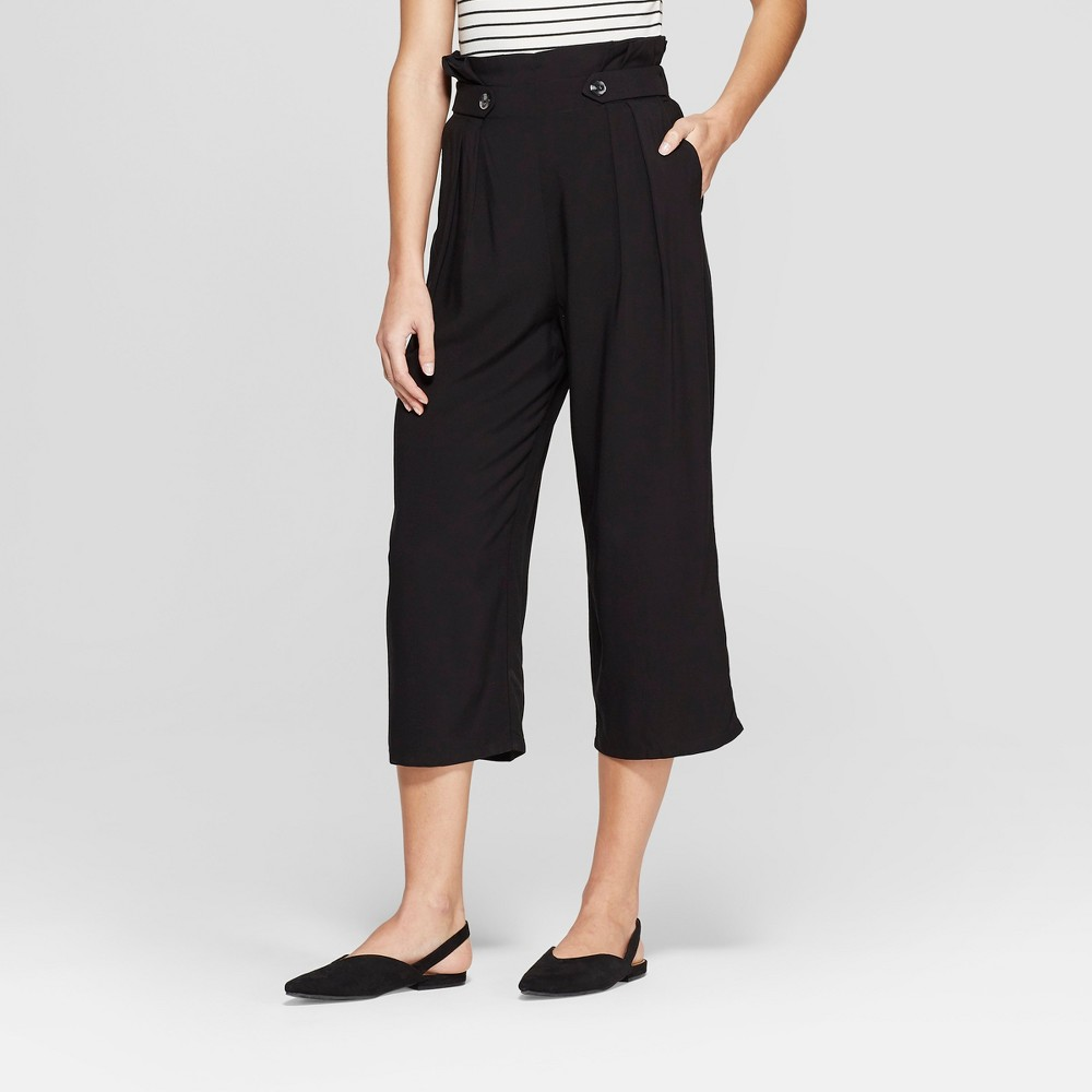 Women's Pleated Cropped Pants With Side Button - Xhilaration Black Xxl