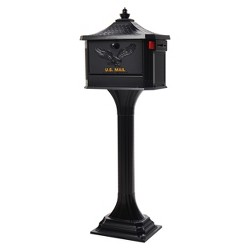 Gibraltar Mailbox Pedestal All In One Mailbox and Address Posts Black