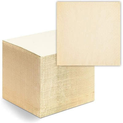 Blue Panda 250-Pack Bamboo Luncheon Napkins, Natural Beige 2-Ply Square Disposable Paper Dinner Napkins, 6.5""