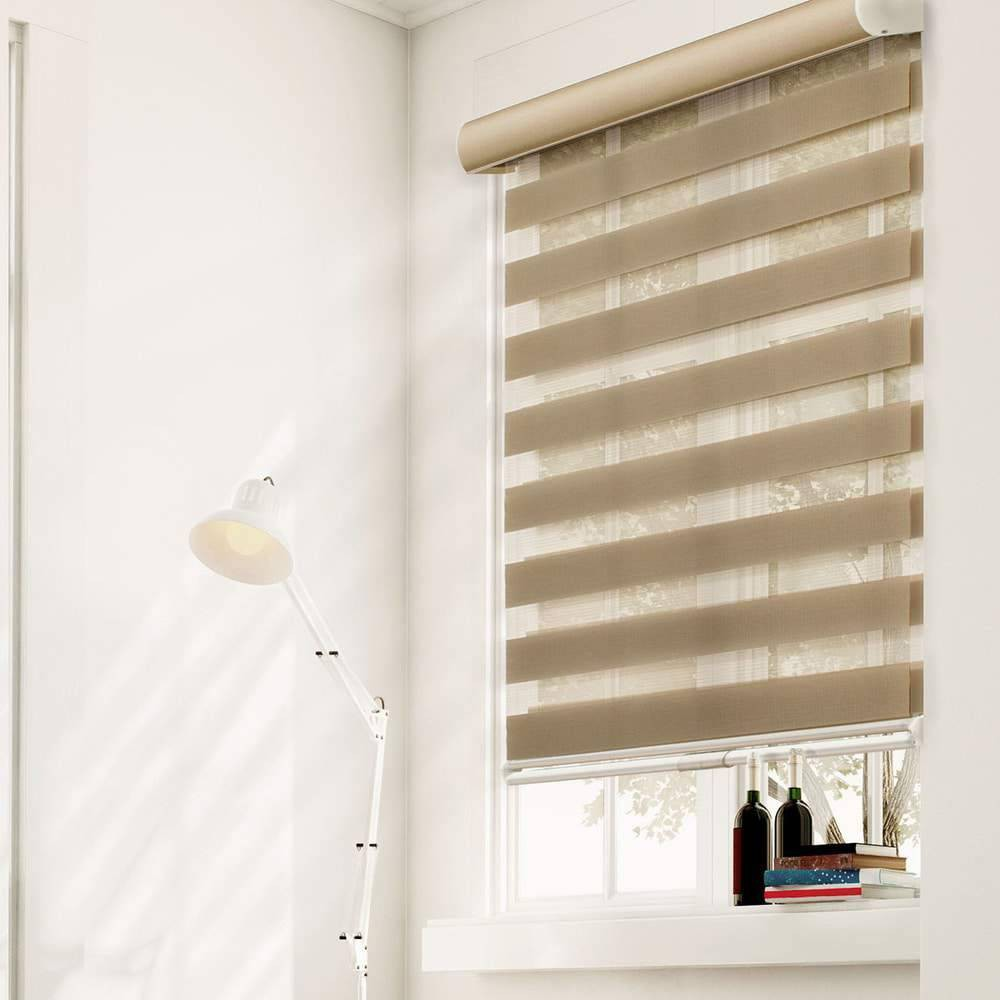"Image of ""34""""x72"""" Free Stop Dual Layer Cordless Zebra Light Filtering Roller Window Shade Natural Brown - Chicology"""