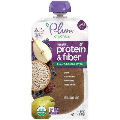 Plum Organics Mighty Protein & Fiber Pear White Bean Blueberry Date & Chia Baby Food Pouch - 4oz