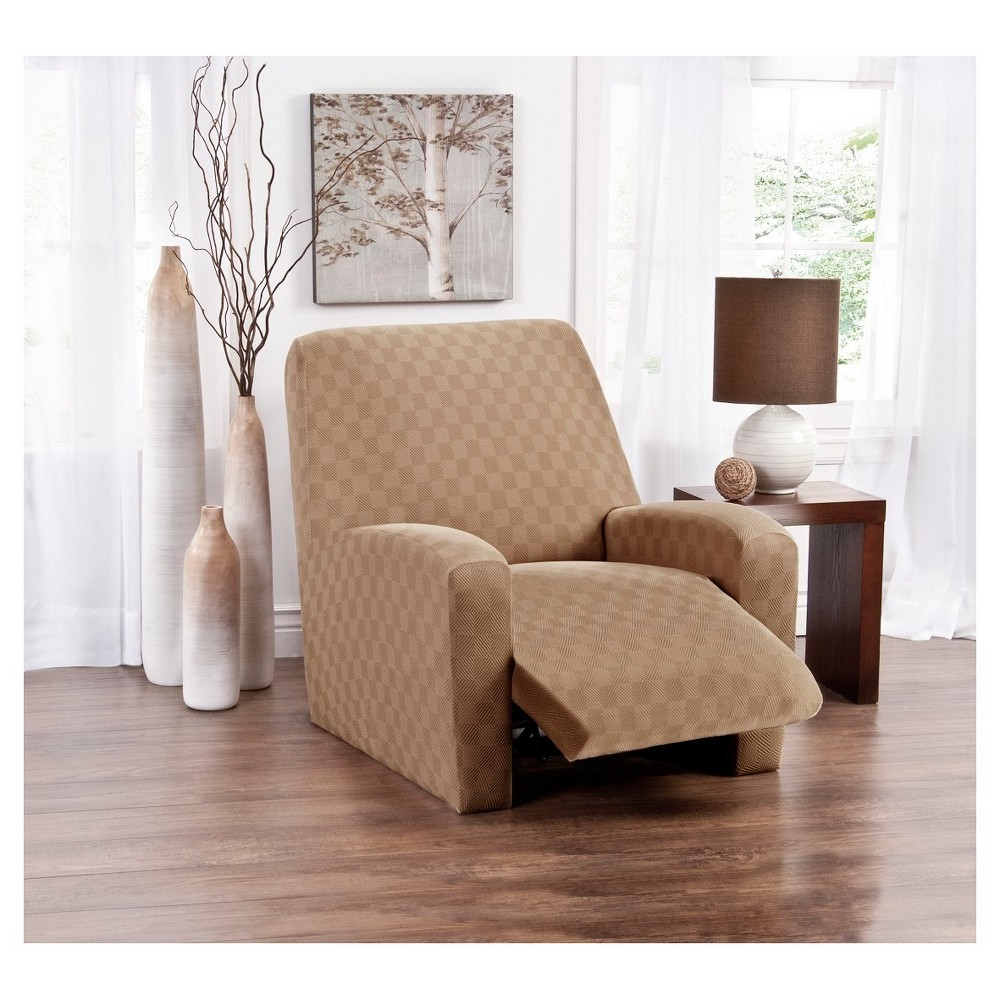 Image of Beige Solid Recliner Slipcover