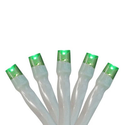 Northlight 20ct Wide Angle LED Battery Operated Mini String Lights Green - 6.25' White Wire