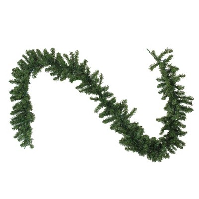 """Northlight 9' x 10"""" Prelit LED Battery Operated Canadian Pine with Timer Artificial Christmas Garland - Clear Lights"""