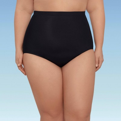 Women's Plus Size Slimming Control Ultra High Waist Swim Briefs - Dreamsuit by Miracle Brands Black