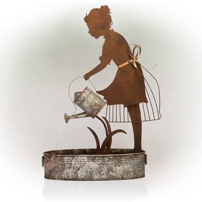 Farm Girl Silhouette Watering Can Metal Fountain - Alpine Corporation