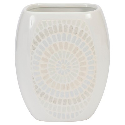 Ceramic Wastebasket Capri Blue/Cream- Creative Bath®