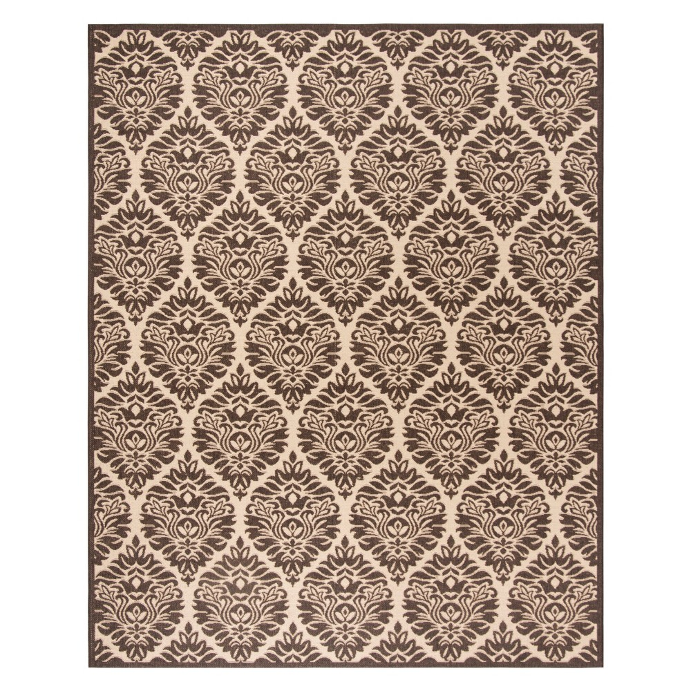 8'X10' Damask Loomed Area Rug Creme/Brown - Safavieh
