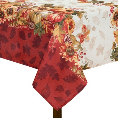 Swaying Leaves Bordered Fall Tablecloth - Red/White - Elrene Home Fashions