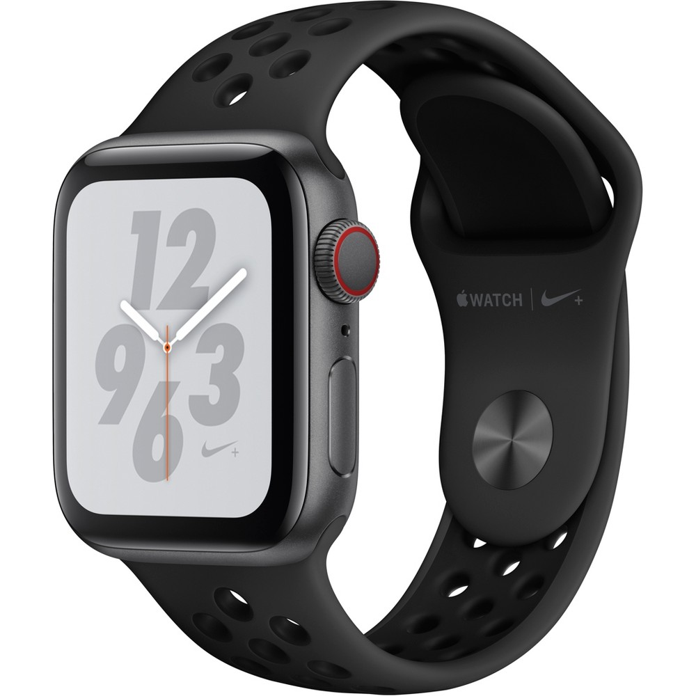 Apple Watch Series 4 Nike+ Gps & Cellular 40mm Space Gray Aluminum Case with Nike Sport Band - Anthracite/Black, Black Sport Band Track your runs with Gps and altimeter. Pair your watch wirelessly with compatible gym equipment. Apple Watch Nike+ is swimproof, so you can take a post-run dip in the pool. And built-in cellular lets you stream your favorite music and get phone calls, messages, and notifications—even when you don't have your phone. There are new Nike watch faces and bands: The Nike Sport Band with compression-molded perforations for breathability and the Nike Sport Loop is woven with a special reflective thread. Selection may vary; see a sales associate for available models. Apple Watch Series 4 (Gps + Cellular) requires an iPhone 6 or later with iOS 12 or later. Wireless service plan required for cellular service. Apple Watch and iPhone service provider must be the same. Not all service providers support enterprise accounts; check with your employer and service provider. Roaming is not available outside your carrier network coverage area. Contact your service provider for more details. Iso standard 22810:2010. Appropriate for shallow-water activities like swimming. Submersion below shallow depth and high-velocity water activities not recommended. Compared with the previous generation. Color: Black Sport Band.