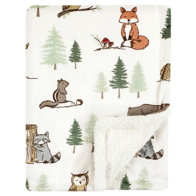 Hudson Baby Infant Boy Plush Blanket with Sherpa Back, Forest Animals, One Size
