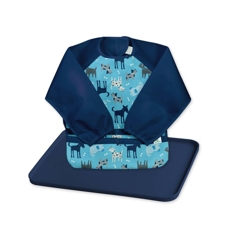 Image of Green Sprouts Baby Meal & Playtime Set Long Sleeve bib Platemat Navy/Aqua - 2pc