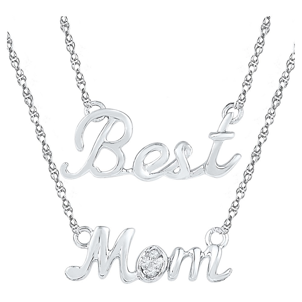 Diamond Accent Round White Diamond Prong Set Mom-Fashion Necklace in Sterling Silver, Girl's