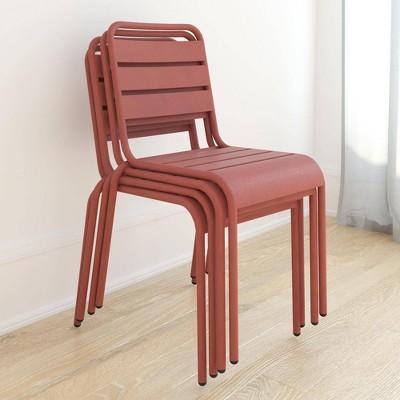June 4pk Outdoor Stacking Chairs - Persimmon - Novogratz