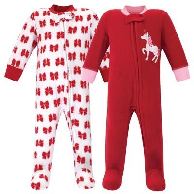 Hudson Baby Infant Girl Fleece Zipper Sleep and Play 2pk, Christmas Unicorn