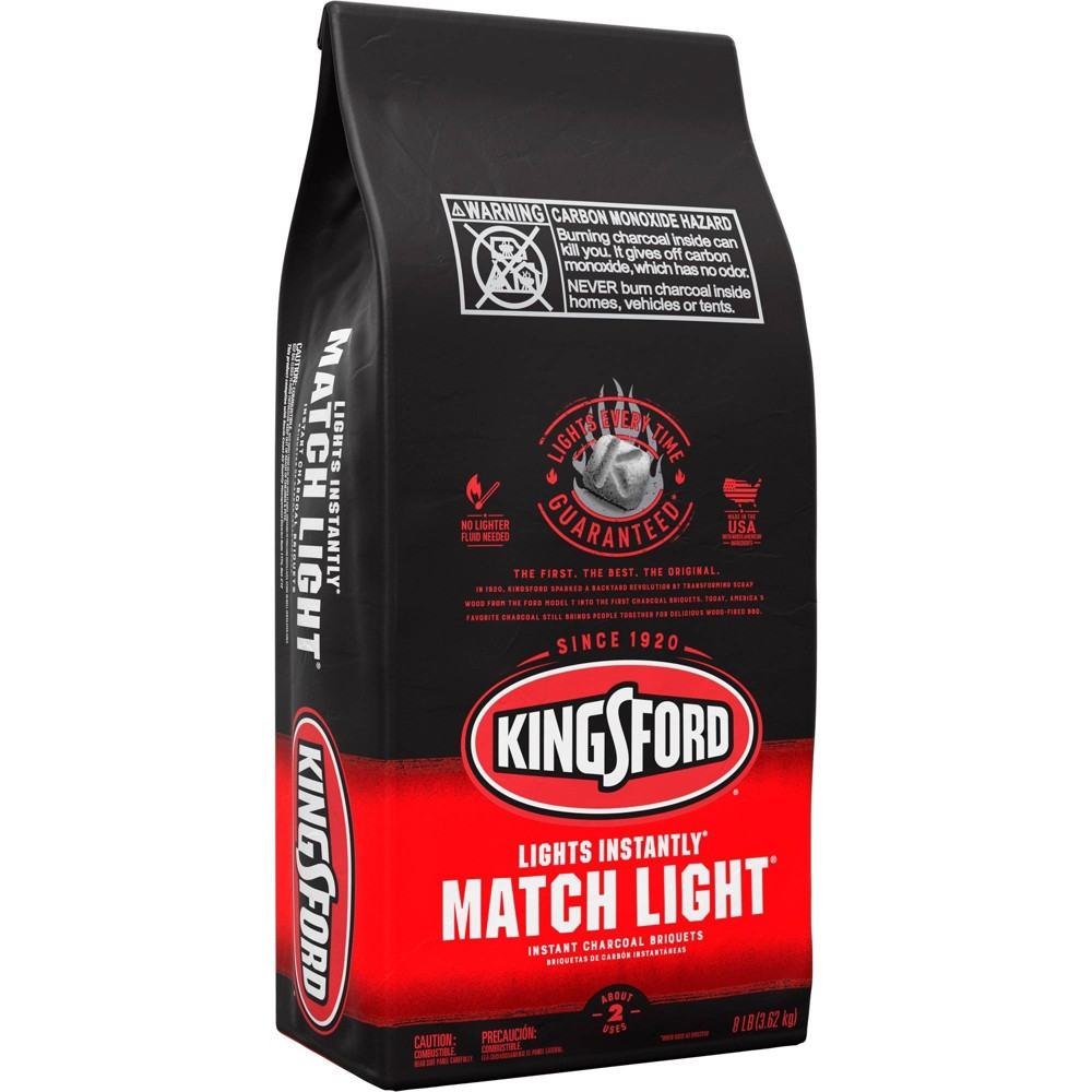 Image of Kingsford Match Light Instant Charcoal Briquettes, BBQ Charcoal for Grilling - 8lbs