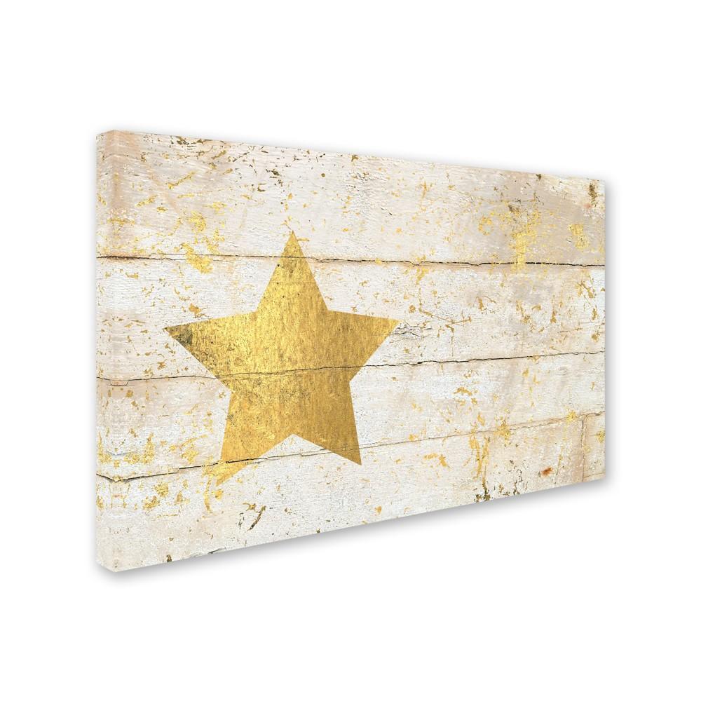 Cora Niele Golden Star on White Wood Canvas Art - Trademark Fine Art, Multicolored