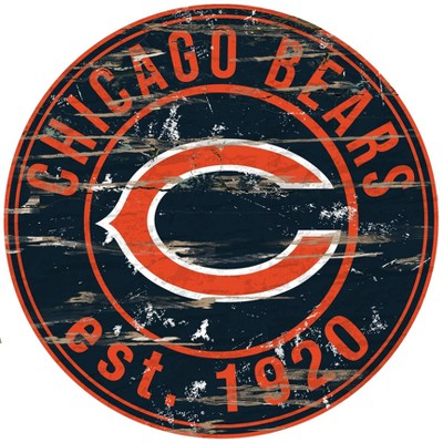 NFL Chicago Bears Fan Creations Round Distressed Sign