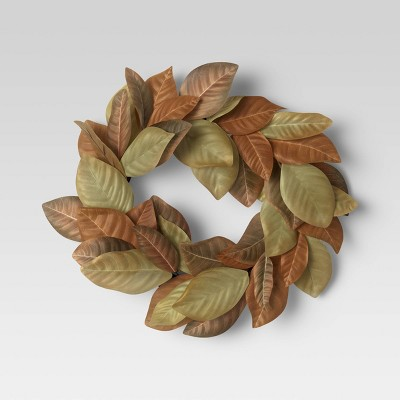 "20"" Artificial Magnolia Leaf Wreath - Threshold™"