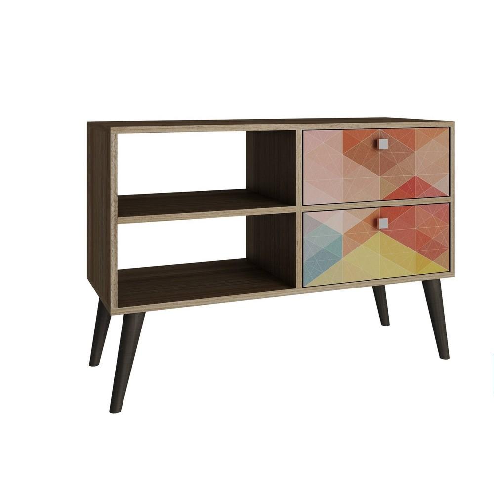 Dalarna TV Stand with 2 Shelves Oak Brown/Stamp - Manhattan Comfort